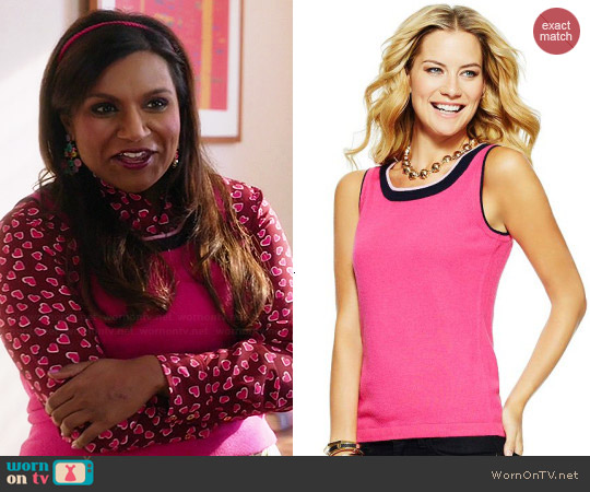 C Wonder Tipped Shell Tank in Pink worn by Mindy Kaling on The Mindy Project