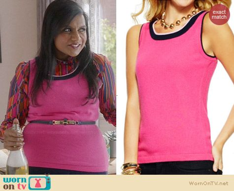 C Wonder Tipped Shell Tank in Cassis/Princess/Navy worn by Mindy Kaling on The Mindy Project