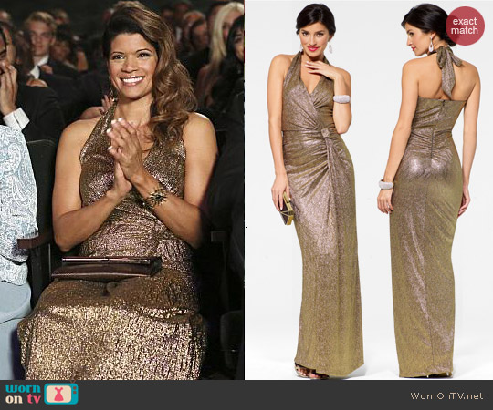 Cache Gold Halter Gown with Side Knot worn by Andrea Calvano on Jane the Virgin