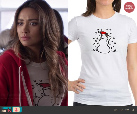 Cafee Press Snowman Santa Tee worn by Shay Mitchell on PLL