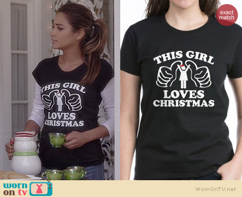 CafePress This Girl Loves Christmas T-shirt worn by Shay Mitchell on PLL