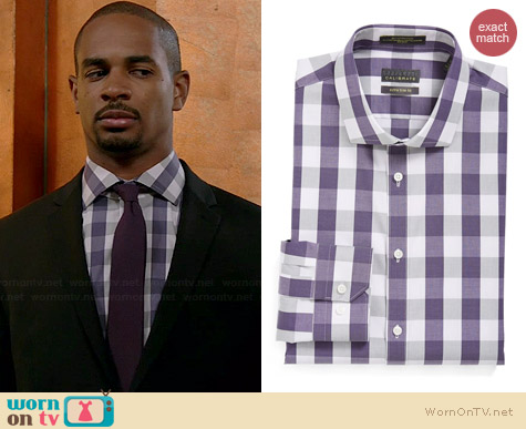 Calibrate Check Shirt in Purple Mulled worn by Damon Wayans Jr on New Girl
