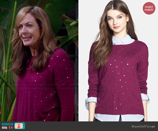 Calson Studded Sweater in Purple Magenta worn by Allison Janney on Mom
