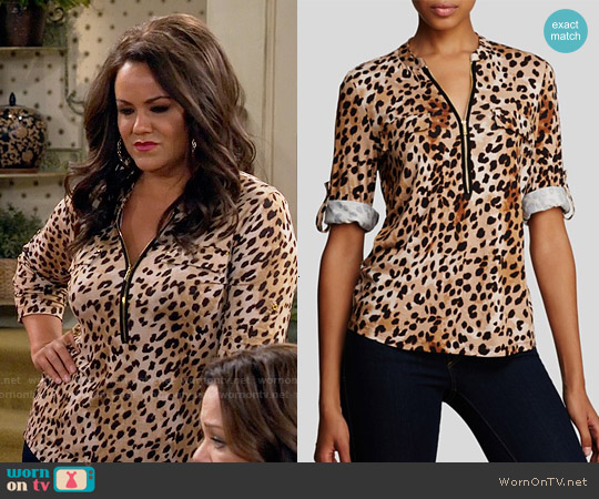 Calvin Klein Animal Print Zip Front Knit Blouse worn by Katy Mixon on Mike & Molly