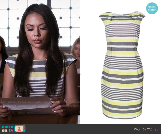Calvin Klein Belted Stripe Sheath Dress worn by Janel Parrish on PLL