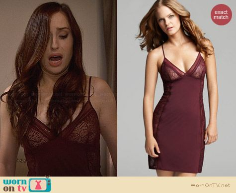 Calvin Klein Black Label Burgundy Chemise worn by Zoe Lister Jones on FWBL