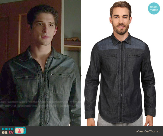 Calvin Klein Denim Block Shirt worn by Tyler Posey on Teen Wolf