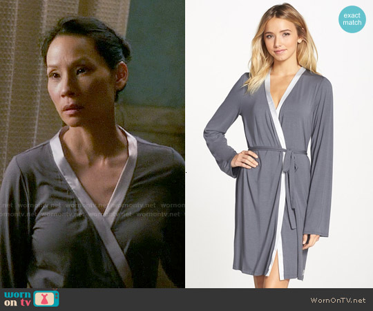 Calvin Klein Essentials Short Robe in Charcoal / Silverstone worn by Lucy Liu on Elementary