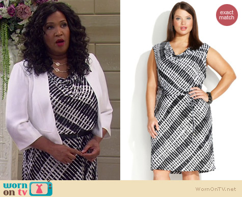 Calvin Klein Geo Print Cowl Neck Dress worn by Kym Whitley on Young & Hungry