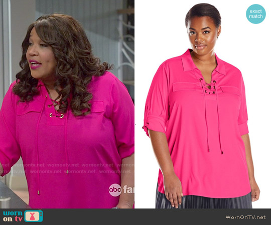 Calvin Klein Plus Size Lace Up Top in Hibiscus worn by Kym Whitley on Young & Hungry