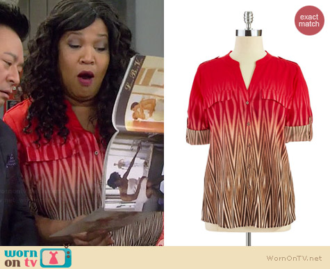 Calvin Klein Ombre Button Down Blouse worn by Kym Whitley on Young & Hungry