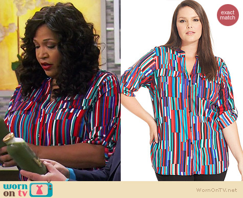 Calvin Klein Plus Cherry Combo Blouse worn by Kym Whitley on Young & Hungry