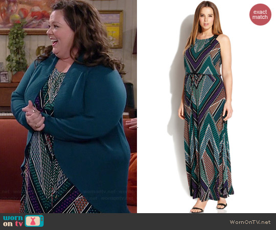 Calvin Klein Plus Geo Print Studded Maxi Dress worn by Melissa McCarthy on Mike & Molly