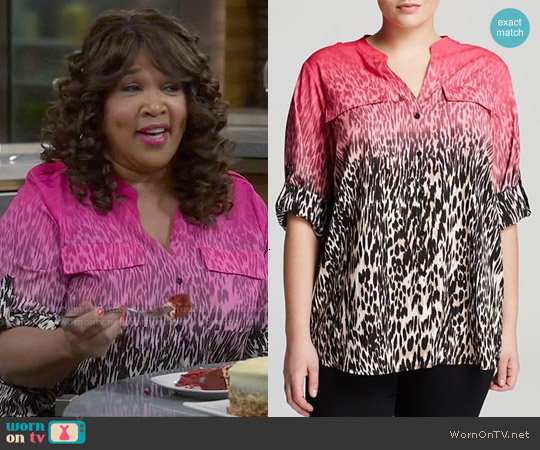Calvin Klein Ombre Animal Print Blouse worn by Kym Whitley on Young & Hungry