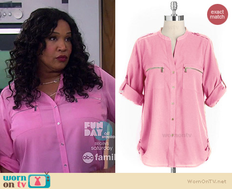 Calvin Klein Zip Pocket Blouse worn by Kym Whitley on Young & Hungry