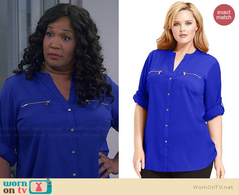 Calvin Klein Zip Roll Sleeve Shirt in Celestial worn by Kym Whitley on Young & Hungry
