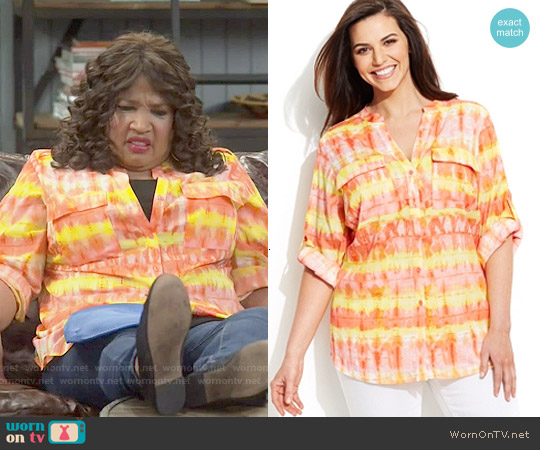 Calvin Klein Printed Utility Shirt worn by Kym Whitley on Young & Hungry