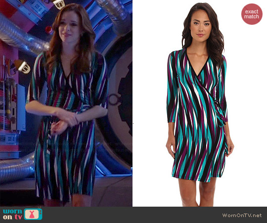 Calvin Klein Rayon Printed Wrap Dress worn by Caitlin Snow on The Flash