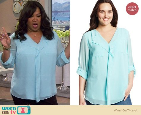 Calvin Klein Ruffled Front Top in Aqua worn by Kym Whitley on Young & Hungry