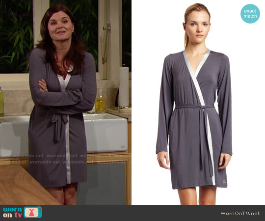 Calvin Klein Satin Short Robe in Charcoal worn by Heather Tom on The Bold & the Beautiful
