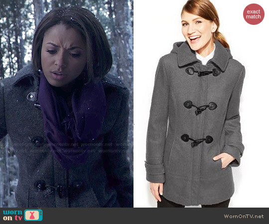 Calvin Klein Faux-Leather-Trim Toggle Wool-Blend Coat worn by Kat Graham on The Vampire Diaries