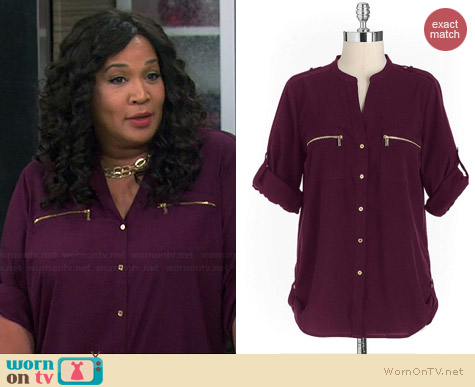 Calvin Klein Zip Pocket Utility Shirt in Aubergine worn by Kym Whitley on Young & Hungry