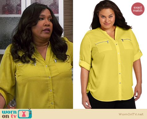 Calvin Klein Zip Roll Sleeve Shirt in Aloe worn by Kym Whitley on Young & Hungry