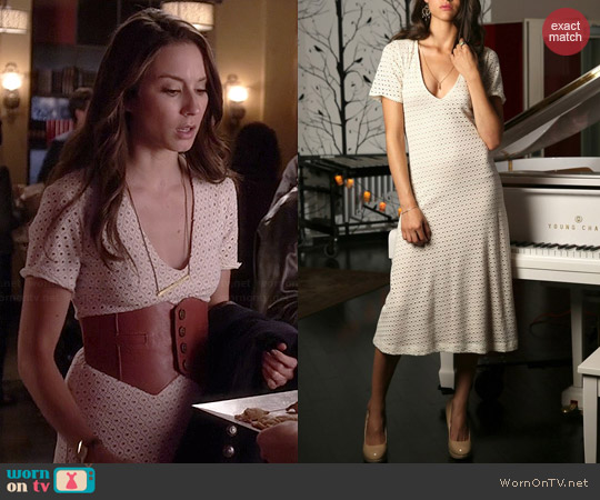 Cameo Eyelet Midi Dress worn by Troian Bellisario on PLL