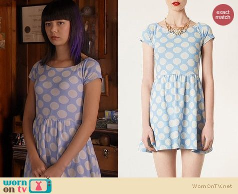 Camp Fashion: Topshop Blue Polka dot bardot tunic dress worn by Charlotte Nicdao