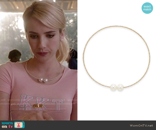 Cara Glass Pearl & Pavé Choker Necklace worn by Emma Roberts on Scream Queens