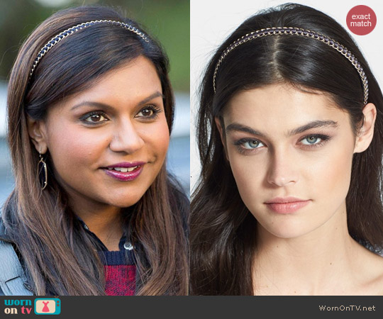 Cara Glam Chain Headband worn by Mindy Kaling on The Mindy Project