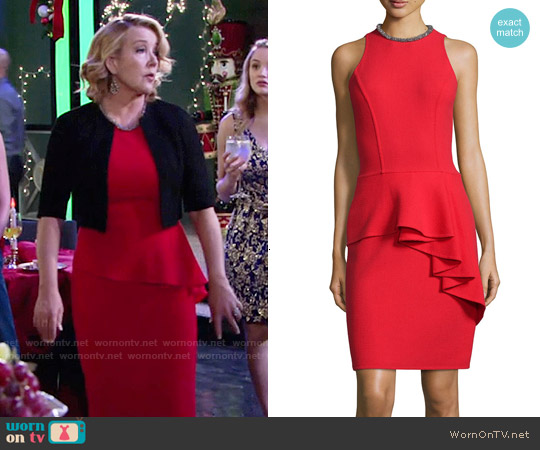 Carmen Marc Valvo Sleeveless Ruffled Peplum Cocktail Dress worn by Melody Thomas-Scott on The Young & the Restless