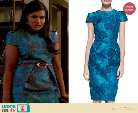 Carmen Marc Valvo Floral Jacquard Dress worn by Mindy Kaling on The Mindy Project