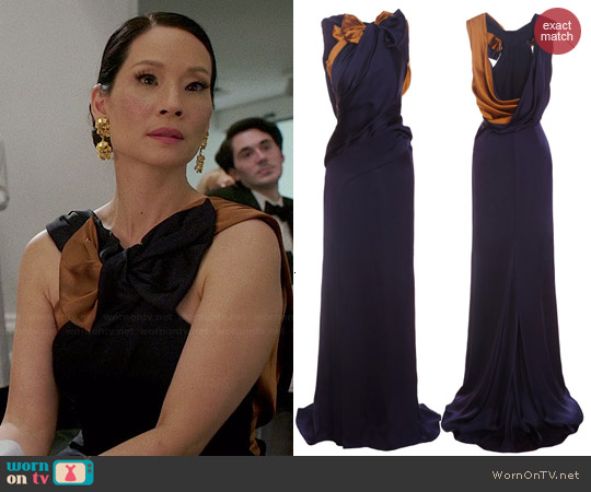 Carolina Herrera Double Face Charmeuse Gown worn by Lucy Liu on Elementary