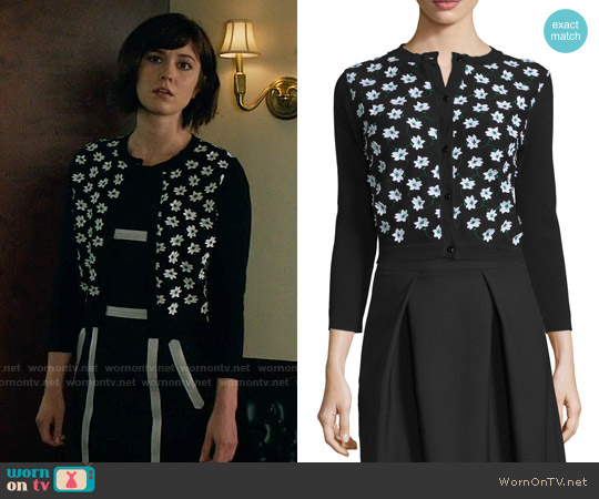 Carolina Herrera 3/4-Sleeve Floral-Embellished Cardigan worn by Mary Elizabeth Winstead on BrainDead