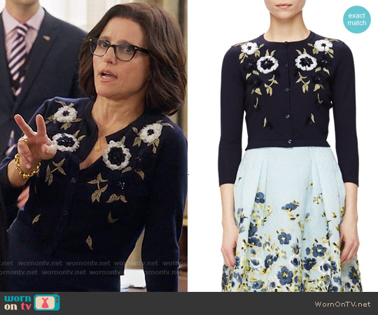 Carolina herrera Floral-embroidered Short Cardigan worn by Julia Louis-Dreyfus on Veep