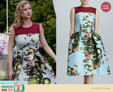 Carolina Herrera Floral Jacquard Full-Skirt Dress worn by Emily VanCamp on Revenge