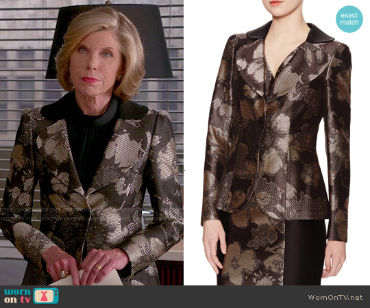 Carolina Herrera Metallic Floral Jacket worn by Christine Baranski on The Good Wife