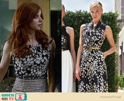 Carolina Herrera Resort 2014 Collection Floral Top worn by Sarah Rafferty on Suits