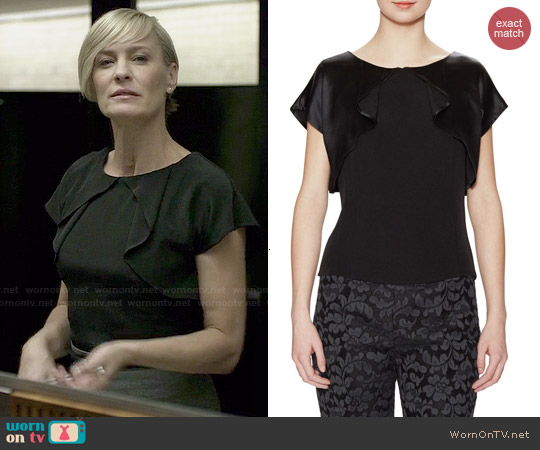 Carolina Herrera Silk Flutter Overlay Blouse worn by Robin Wright on House of Cards