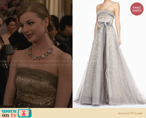 Carolina Herrera Strapless Tulle Gown worn by Emily Throne on Revenge