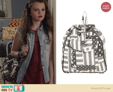 The Carrie Diaries Bags: Topshop American Flag Backpack worn by Stefania Owen