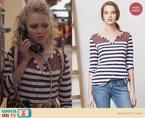 The Carrie Diaries Clothes: Anthropologie Mixed Print Henley worn by AnnaSophia Robb