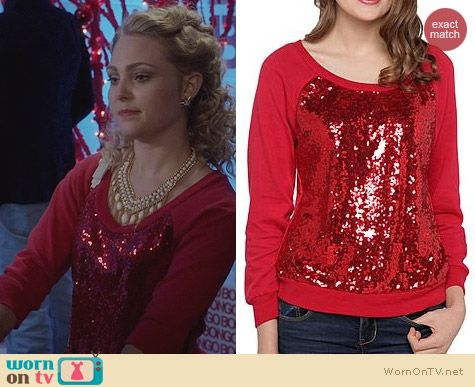 The Carrie Diaries Clothes: Bongos Juniors Sequined Sweatshirt worn by AnnaSophia Robb