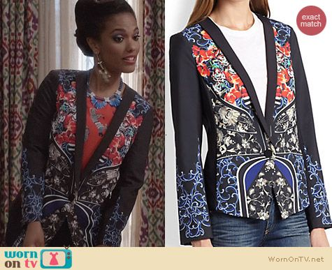 The Carrie Diaries Clothes: Clover Canyon Royal Egg Blazer worn by Freema Agyeman