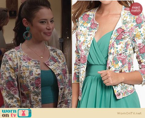 The Carrie Diaries Clothes: Guess Floral Denim Jacket worn by Donna LaDonna