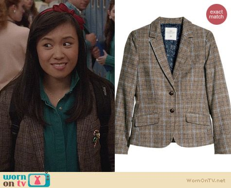 The Carrie Diaries Fashion: H&M Plaid Blazer worn by Ellen Wong