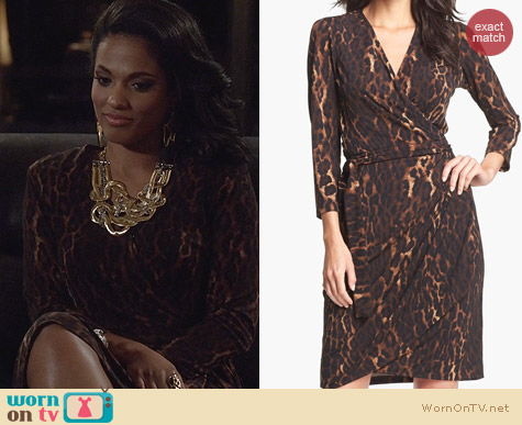 The Carrie Diaries Clothes: Maggy London Leopard Print Jersey Wrap Dress worn by Freema Agyeman