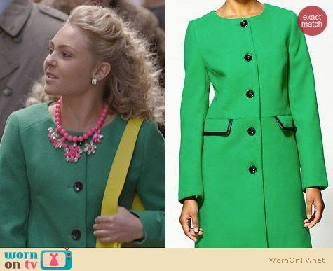 Carrie Diaries Clothes: Pim & Larkin Green Collarless Jacket worn by AnnaSophia Robb
