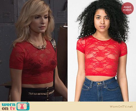 The Carrie Diaries Fashion: American Apparel Stretch Floral Lace Crop Top in Red worn by Samantha Jones